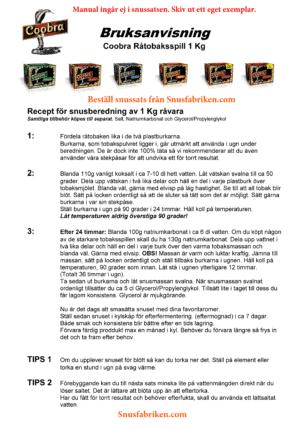 Manual / recept och bruksanvisning till Coobra snussats