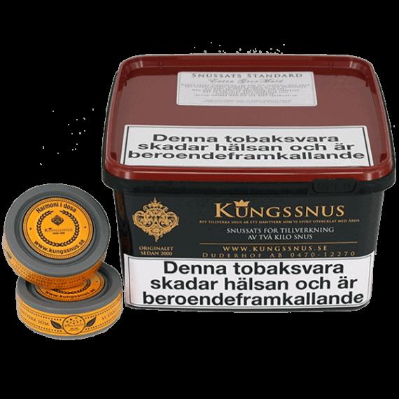 Kungssnus Snussats som är extra grovmald. Beställ snussatsen från Snusfabriken.com