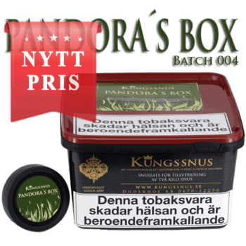 Den fjärde snussatsen i Pandoras Box serien från Kungssnus. Där priset på råvarorna inte spelar någon roll. Beställ snussatsen från Snusfabriken.com