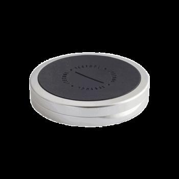 ICETOOL Slim Can Silver och svart läder. För portionssnus i slimmad form - Beställ från Snusfabriken.com